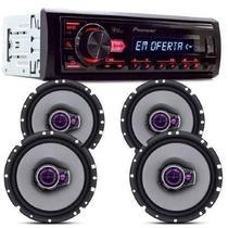 Radio Mp3 Pioneer Mvh-98ub Usb + 04 Auto Falante 6 Triaxial 200w -