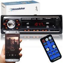 Rádio Mp3 Player Automotivo Bluetooth Roadstar RS-2606BR Fm Usb Controle 7 Cores Iluminação Botões -