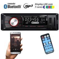 Rádio Mp3 Player Automotivo Bluetooth Roadstar RS-2709BR Fm Usb Controle 7 Cores Iluminação Botões -