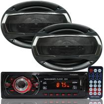 Rádio Mp3 Player Carro Som Automotivo Fm Usb Sd + Par Alto Falante Roadstar 6,5 Polegadas 130W Rms - First opt/roadstar