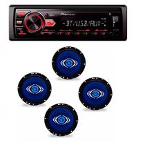 Radio Mp3 Player Pioneer Mvh-298bt Bluetooth Usb Aux e Kit 4 Alto Auto Falantes Hurricane 6 Polegadas -