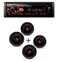 Radio Mp3 Player Pioneer Mvh-298bt Bluetooth Usb Aux e Kit 4 Alto Falante Bomber Triaxial 6 Pol