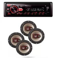 Radio Mp3 Player Pioneer Mvh-298bt Bluetooth Usb Aux e Kit 4 Auto Falante Bravox 6 50w - Pioneer / bravox