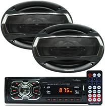 Rádio Mp3 Player Som Automotivo Fm Usb First Option + Par Alto Falante Roadstar 6x9 Pol 240W Rms - First opt/roadstar