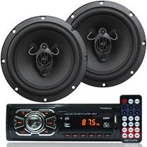 Rádio Mp3 Player Som Automotivo Usb First Option 6620 + Par Alto Falante Roadstar 6,5 Pol 130W Rms - First opt/roadstar