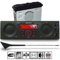 Radio Mp3 Usb Alto Falantes + Subwoofer Integrados Com Antena Longa Kit1396 - Winnparts