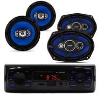 RADIO MP3 USB + falante 6 Pol + 6X9 Orion 55W -