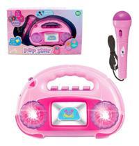 Radio Musical Infantil Com Microfone Amplificador +luz Pop - arktoys
