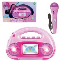 Radio musical infantil com microfone + luz pop star na caixa -