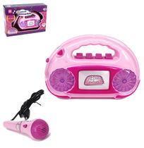 Radio musical infantil divertido meu ritmo com microfone e luz na caixa wellkids - Wellmix