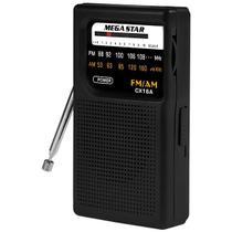 Rádio Portátil AM/FM MegaStar CX16A com 2 Bandas a Pilha - Preto -