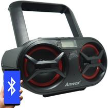 Rádio Portátil Boombox Som Cd Mp3 Player Usb Sd Fm Am Bluetooth Bivolt Amvox AMC 595 New Preto -