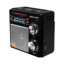 Rádio Portatil  FM/AM MegaStar RX-803BT 5W com Bluetooth/USB/Lanterna - Preto