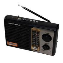 Rádio Portátil Megastar RX-17BT AM/FM com Bluetooth/USB/SD Bivolt - Preto - Rodstar