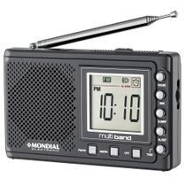 Rádio Portátil Mondial Multi Band II, Rádio AM/FM/SW, Display digital, Funções relógio e alarme -