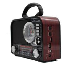 Rádio Portátil Retrô Fm Am Bluetooth Usb Relógio Despertador D-F8 Avermelhada - Grasep