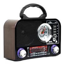Rádio Portátil Retrô Fm Am Bluetooth Usb Relógio Despertador D-F8 - Grasep