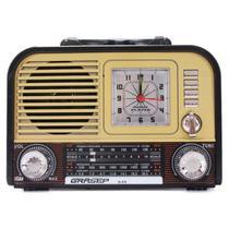 Rádio Portátil Retrô Fm Am Bluetooth Usb Relógio Despertador D-F9 Verniz - Grasep