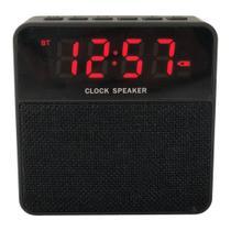 Rádio Relógio Bluetooth Clock Speaker USB/FM/TF Card Preto - Ztg -