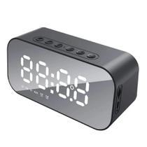Rádio Relógio Bluetooth Despertador Digital Caixa de Som Espelhado Preto - Durawell
