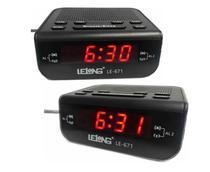 Rádio Relógio Despertador Alarme Duplo Digita Lelong Le-671 -