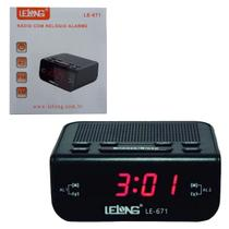 Rádio Relógio Despertador Digital Bivolt Elegante Lelong Le671 -