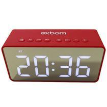Rádio Relógio Despertador Digital Caixa de Som Bluetooth - Vermelho - Aoc