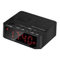 Rádio relógio despertador digital fm bluetooth micro sd preto le-674 - lelong -