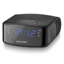 Radio Relógio Digital Alarme Despertador 3W RMS Preto - Multilaser SP288 -