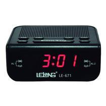 Rádio Relógio Digital AmFm Temporizador Bivolt Le-671 Lelong -
