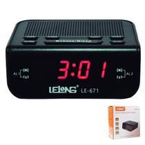 Rádio relógio digital com despertador Lelong 671 -