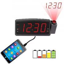 Rádio relógio digital com projetor e despertador Lelong -