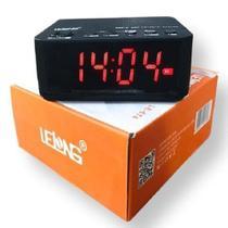 Rádio Relógio Digital Despertador Bluetooth Lelong LE-674 preto -