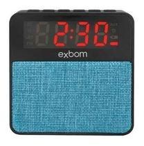 Rádio Relógio Digital Despertador Bluetooth Mp3 Sd Auxiliar Preto Com Azul - Exbom