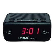 Rádio relógio fm despertador soneca visor grande le-671 - lelong -