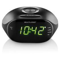 Rádio Relógio Multilaser Pulse - Despertador, Alarme, Função Soneca e FM 5W RMS Bivolt Preto - SP202 -