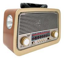 Rádio Retro A3188 Vintage Am Fm Sw Usb Bluetooth Bateria Recarregavel Madeira - Altomex