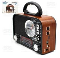 Rádio Retrô Bluetooth 8W Grasep D-F8 c/ Relógio Madeira Claro -