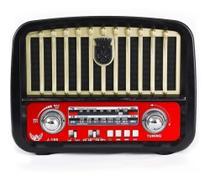 Radio Retrô Bluetooth AM FM Entrada Usb Cartão SD Recarregavel - Altomex