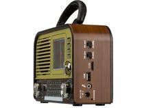 Rádio Retro Bluetooth Fm Am Mp3 Sd Card Usb Relógio - Grasep