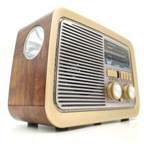 Rádio Retro Vintage Am Fm Sw Usb Aux Bluetooth Bateria Recarregável Madeira Estilo Antigo - Altomex -