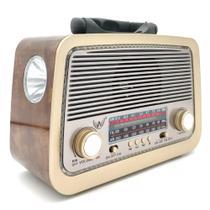 Rádio Retro Vintage Am Fm Sw Usb Aux Bluetooth Bateria Recarregavel Madeira Estilo Antigo - Altomex -
