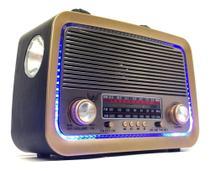 Rádio Retro Vintage Am Fm Sw Usb Bluetooth Bateria Recarregavel Aux Estilo Antigo Madeira - Altomex -
