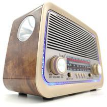 Rádio Retro Vintage Am Fm Sw Usb Bluetooth Bateria Recarregavel Aux Sd - Estilo Antigo Madeira - Altomex