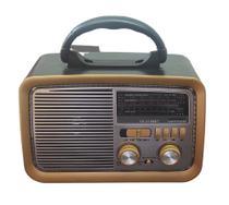 Rádio Retro Vintage Am Fm Sw Usb Bluetooth Bateria Recarregavel Madeira Estilo Antigo - Altomex