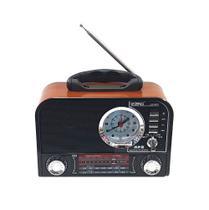 Radio Retro Vintage Bluetooth AM/ FM/ USB/ SD com Relógio LE-643 - Lelong