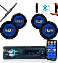 Rádio roadstar 2602 bt + 4 falantes 6  55w + antena interna -