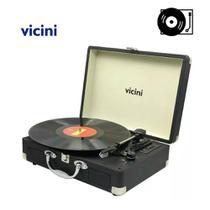 Rádio Toca Disco Vitrola Vintage Gravação Bluetooth Bivolt - Vicini