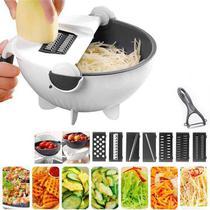 Ralador Fatiador Cortador Legumes Salada Frutas Cozinha Alimentos Ralador Escorredor Multifuncional 9 em 1 -