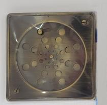 Ralo Grelha Com Caixilho E Fechamento 15cm Quadrado Latão Ouro Velho - Lojasarah
